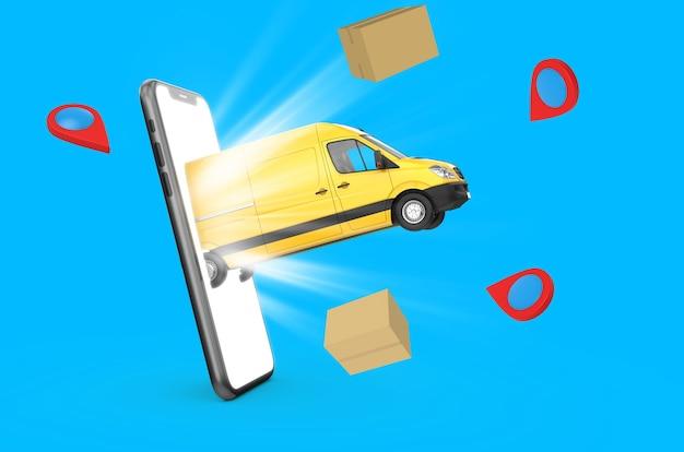 3d render gele bestelwagen die uit een smartphone komt met dozen en locatiepictogrammen op blauwe achtergrond