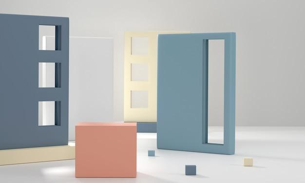 3d render geometrische achtergrond podium minimale scène met geometrische vormen podium