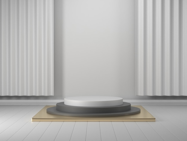 3d render geometrische podium wit 3d podium showcase voor product