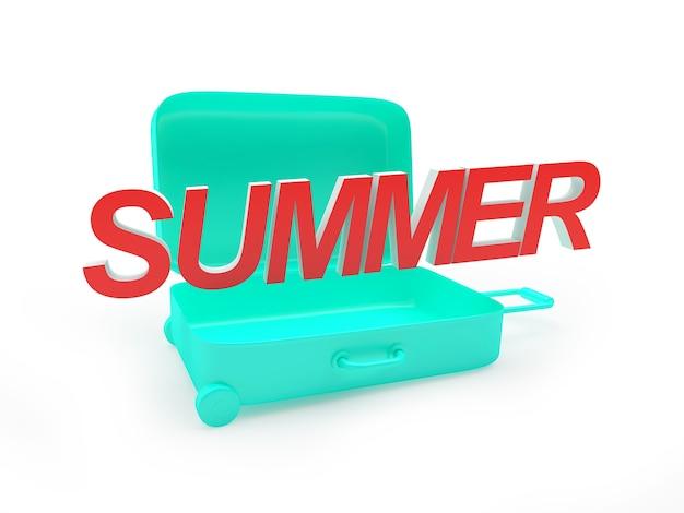 3d render geopende mint koffer met zomer rode tekst erin geïsoleerd op een witte achtergrond