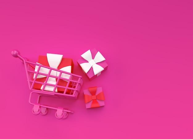 3d render geschenkdoos in het ontwerp van de afbeelding van het winkelwagentje.
