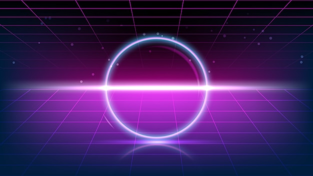 3d render gloeiende neon ring op jaren tachtig paarse vintage achtergrond