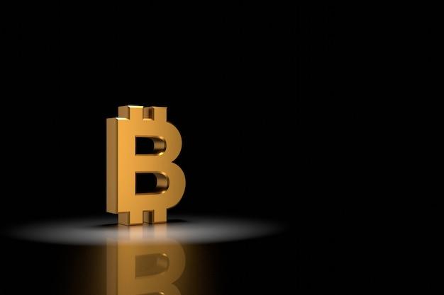 3d render gouden bitcoin teken op zwarte achtergrond