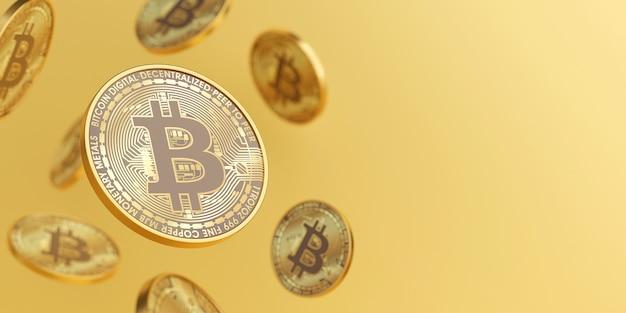 3d render gouden cryptocurrency bitcoins drijvend op gouden achtergrond met kopie ruimte