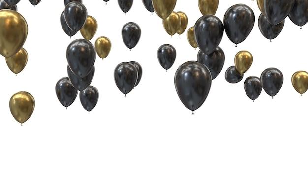 3d render gouden en zwarte ballonnen op een zwarte achtergrond