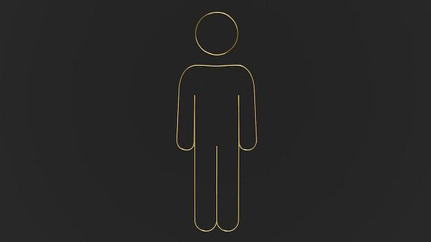 3d render gouden menselijk pictogram op zwarte achtergrond
