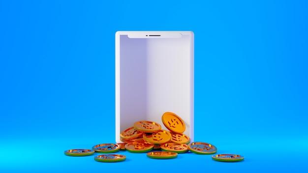 3d render gouden munten die uit een wit smartphonescherm komen dat op een blauwe achtergrond wordt geïsoleerd