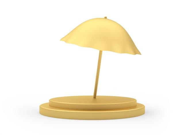 3d render gouden parasol op podium geïsoleerd op een witte background