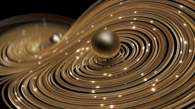 3d render gouden ronde netwerk met glans cirkels achtergrond