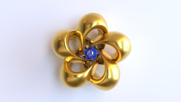 3d render gouden sieraden met blauwe parel
