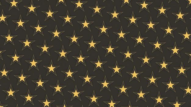 3d render gouden sterrenpatroon
