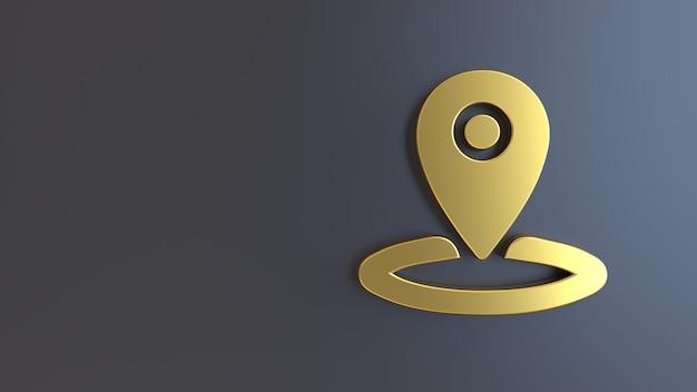 3d render gouden symbool geolocatie