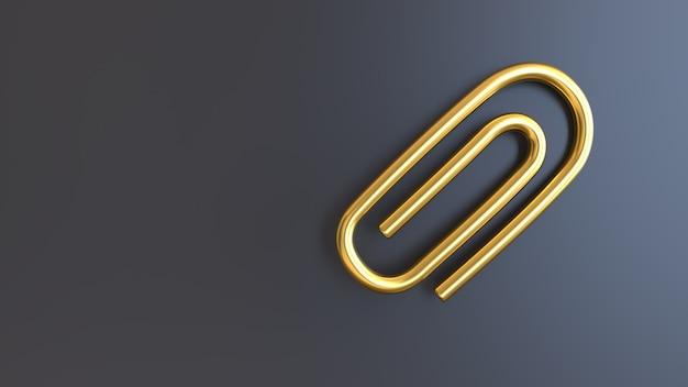 3d render gouden symbool paperclip