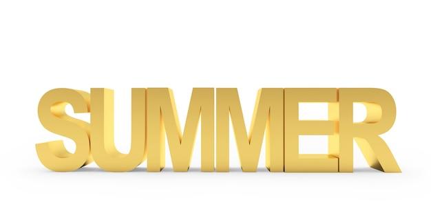 3d render gouden zomer tekst geïsoleerd op een witte achtergrond