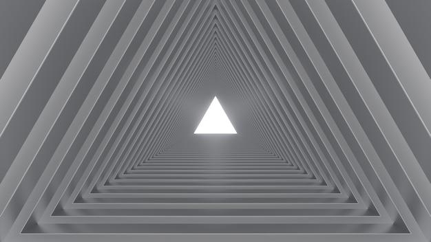 3d render grijze driehoek tunnel helder licht vloer geometrisch
