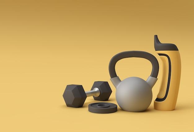 3d render halters set, realistische gedetailleerde close-up weergave geïsoleerde sport element van fitness halter ontwerp.