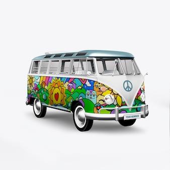 3d render hippie bus op wit