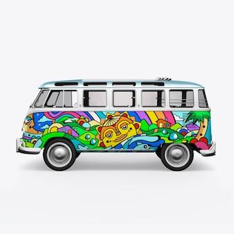 3d render hippie bus