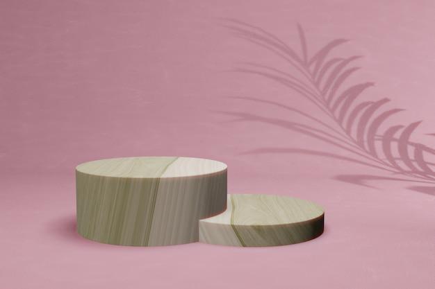 3d render houten mockup met roze