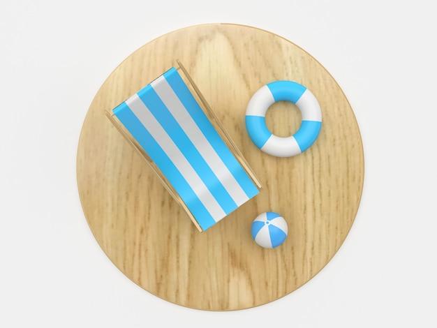 3d render houten plank met blauwe ligstoel, strandbal en reddingsboei op witte achtergrond, bovenaanzicht