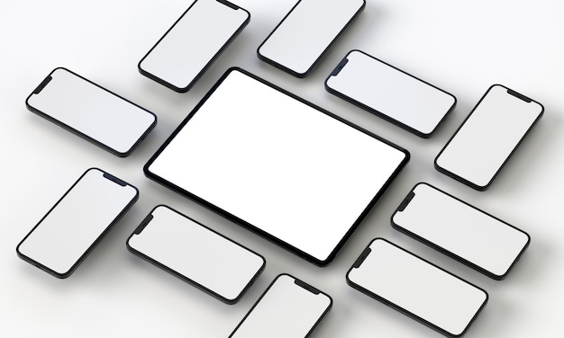 3d render illustratie generieke telefoon mock-up en tablet in een wit ontwerp high key iphone ipad