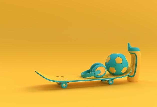 3d render illustratie skateboards met voetbal en koptelefoon geïsoleerd op kleur stears background