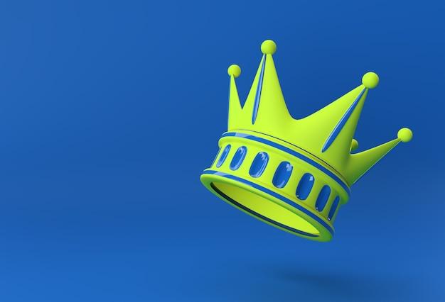 3d render illustratie turquoise kroon geïsoleerd op kleur achtergrond