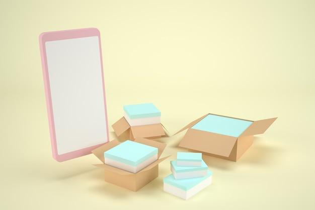 3d render. illustratie van een smartphone met online boodschappendozen. met copyspace