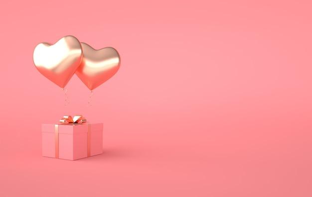 3d render illustratie van goud glanzend hart ballon, geschenkdoos met gouden strik op roze