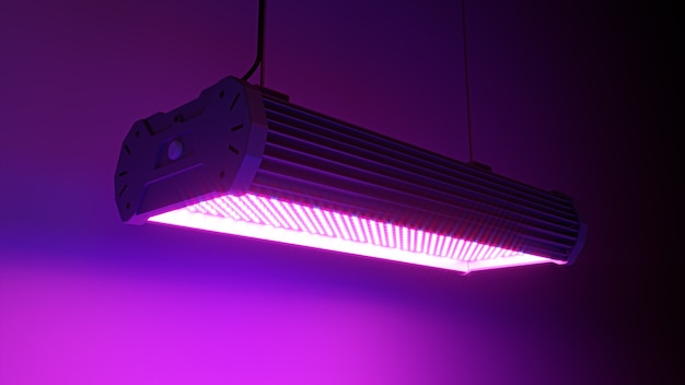 3d render illustratie van paarse led lamp