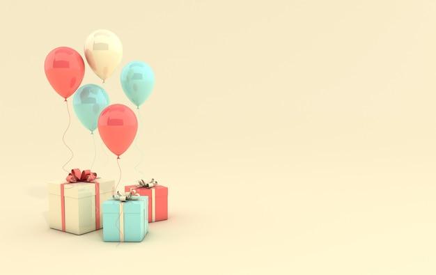 3d render illustratie van realistische koraal, groene en gele ballonnen en geschenkdoos met strik op gele achtergrond