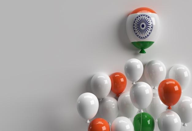 3d render india onafhankelijkheidsdag banner india vlag luchtballonnen.