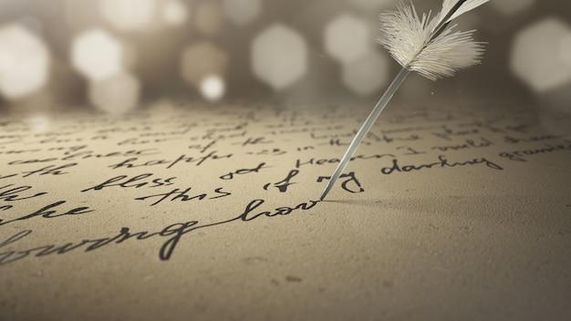 3d render inkt pen schrijft poëzie op oud papier