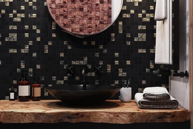 3d render. interieur van een moderne badkamer met een mozaïek van zwarte en grijze kleuren aan de muur.