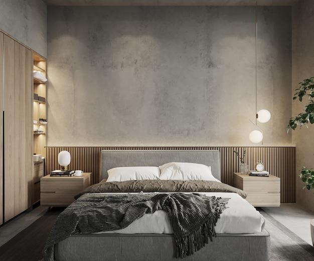 3d render, interieur van slaapkamer, betonnen muur mockup