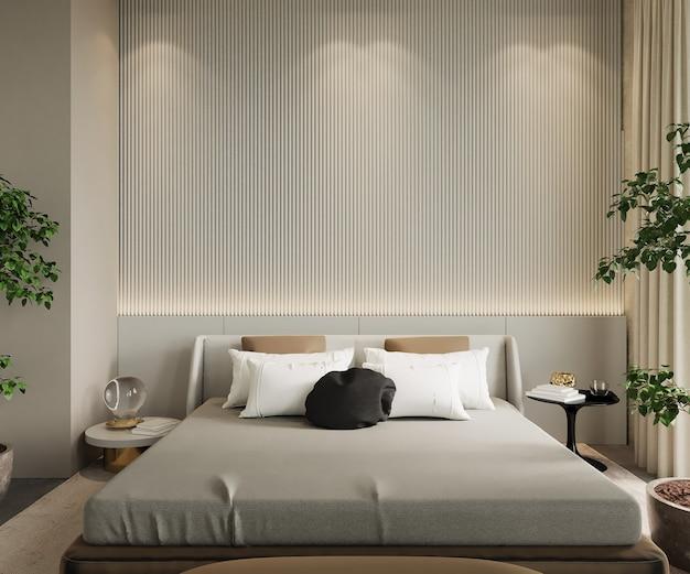 3d render, interieur van slaapkamer met bed, beige wall mockup