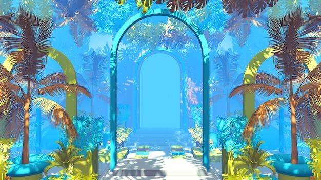 3d render jungle met blauwe achtergrond met bogen