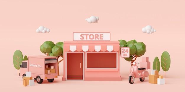 3d render kleine supermarkt met bomen op lichtroze achtergrond