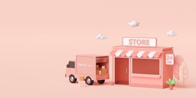 3d render kleine supermarkt op lichtroze achtergrond met kopieerruimte