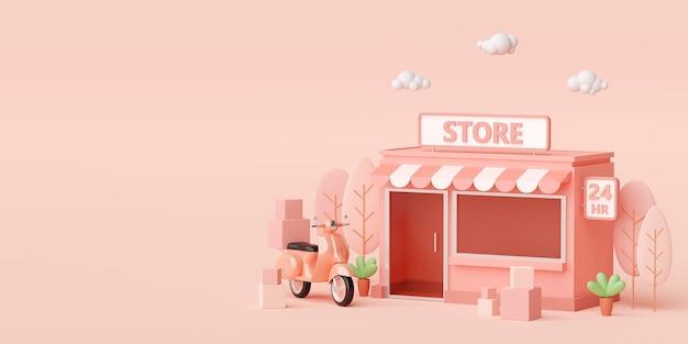 3d render kleine supermarkt op lichtroze achtergrond