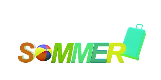 3d render kleurrijke zomer tekst met strandbal als de letter u en een koffer geïsoleerd op een witte achtergrond