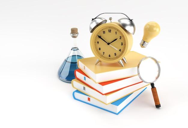 3d render klok met boeken in minimalistische stijl illustratie.