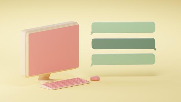 3d render koraal computer en toetsenbord met groene chatbox op gele achtergrond