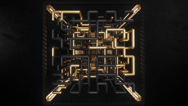 3d render kubus met goud en zwart doolhof animatie binnen