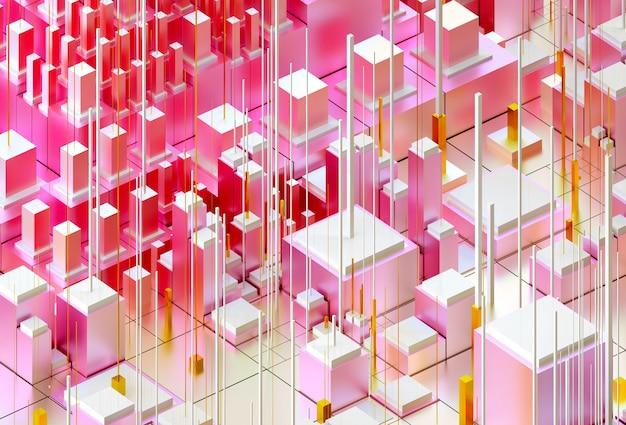 3d render kunst met surrealistische 3d-achtergrond op basis van kubussen, dozen of staven in mat metalen materiaal geschilderd in roze, gele en witte verloopkleuren.