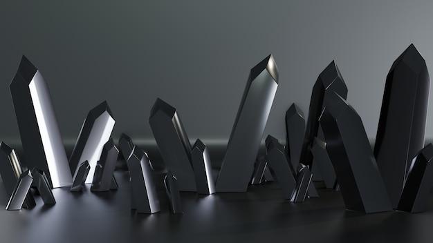 3d render kwartskristallen geïsoleerd met donkere kleur