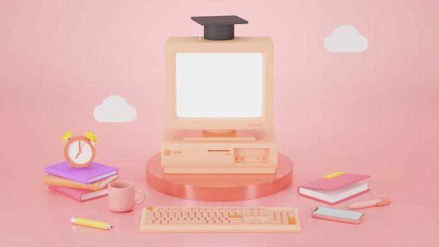 3d render leerconcept online onderwijs terwijl quarantaine
