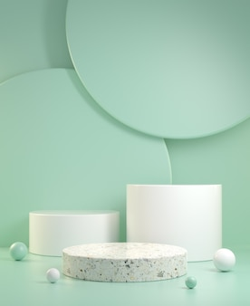 3d render lege schone minimale mockup drie stappen weergave met groene munt kleur abstracte achtergrond afbeelding