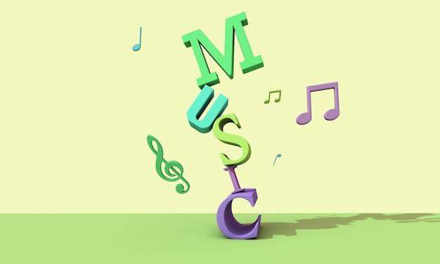 3d render letters. muzikale achtergrond concept
