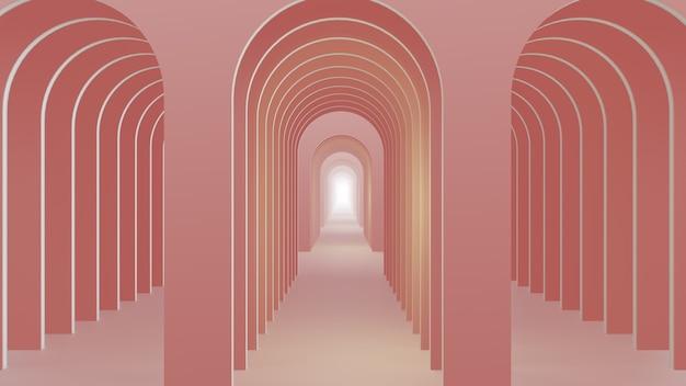 3d render licht roze abstracte bogen achtergrond
